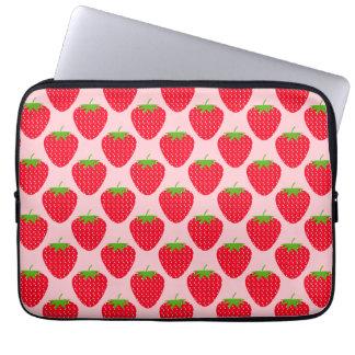 Het roze en Rode Patroon van de Aardbei Computer Sleeve