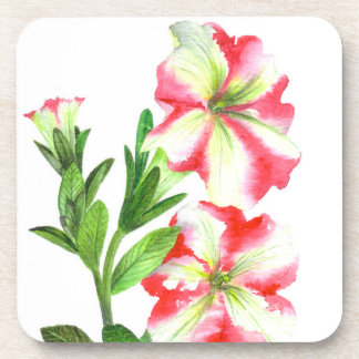 Het roze en Witte BloemenArt. van de Petunia Drankjes Onderzetter