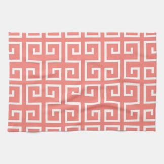Het Roze en Witte Geometrische Patroon van het kor Theedoek