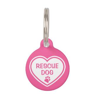Het roze en Witte Hart van de Hond van de Redding Huisdier Tags