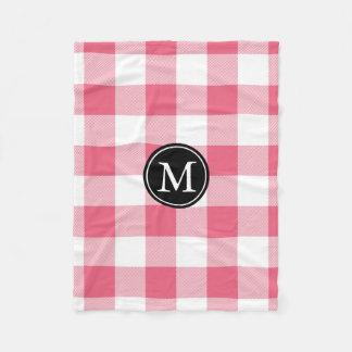 Het roze en Witte Monogram van de Controle van Fleece Deken