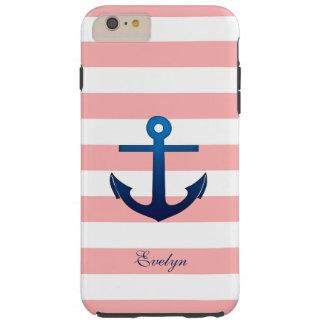 Het roze en Witte Monogram van de Douane van het Tough iPhone 6 Plus Hoesje