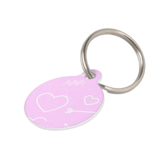 Het roze en Witte Valentijnse Hart en de Pijl van Huisdierpenning