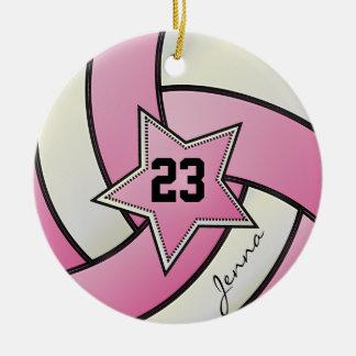 Het roze en Witte Volleyball van de Ster Rond Keramisch Ornament