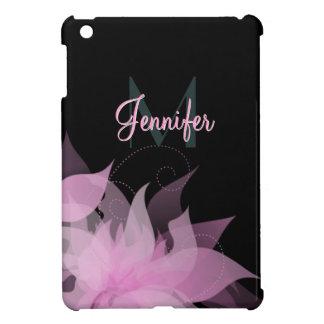 Het roze en Zwarte Bloemen MiniHoesje van Meisjes  Hoesje Voor iPad Mini