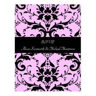 Het roze en Zwarte Briefkaart van het Damast RSVP