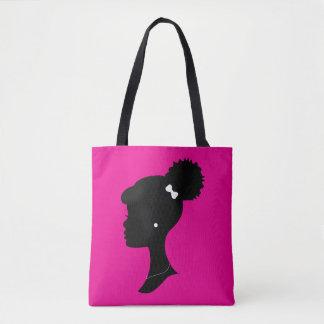 Het roze en Zwarte Canvas tas van het Silhouet van