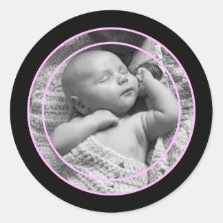 Het roze en Zwarte Lijst van de Foto Ronde Sticker