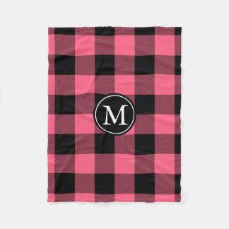 Het roze en Zwarte Monogram van de Controle van Fleece Deken