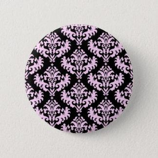 Het roze en Zwarte Patroon van het Damast Ronde Button 5,7 Cm