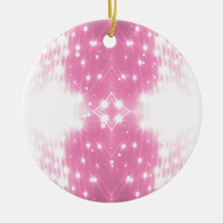 Het roze Fonkelen Kaleidasope Rond Keramisch Ornament