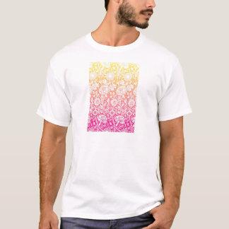 Het roze & Gele Eigentijdse BloemenOntwerp van de T Shirt