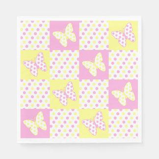 Het roze Gele Meisje van het Patroon van het Papieren Servet