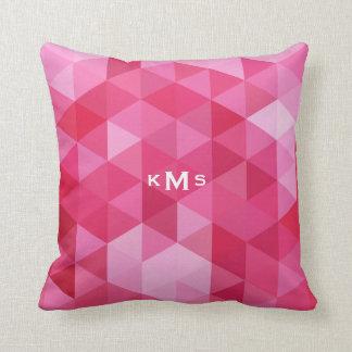 Het roze Geometrische Hoofdkussen van het Monogram Sierkussen