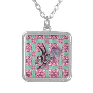 Het roze Geometrische Patroon van de Schedel van Zilver Vergulden Ketting