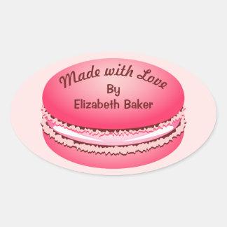 Het Roze Gepersonaliseerde Koekje Macaron van het Ovale Sticker
