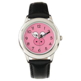 Het roze Gezicht van het Varken Horloge