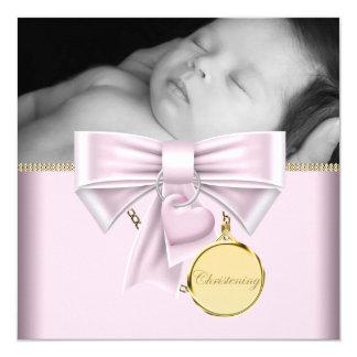 Het roze Gouden Doopsel van de Foto van het Meisje 13,3x13,3 Vierkante Uitnodiging Kaart