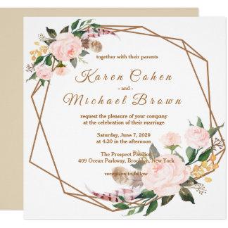 Het Roze & Gouden Elegante BloemenHuwelijk Boho Kaart