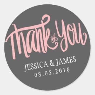 Het roze Grijs dankt u Sticker met de Doopvont van