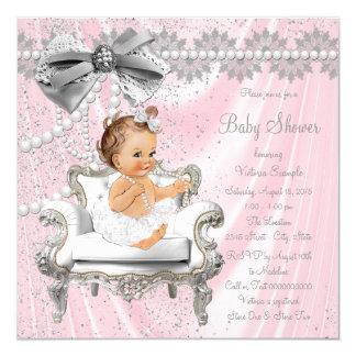 Het roze Grijze Baby shower van de Stoel van de Kaart