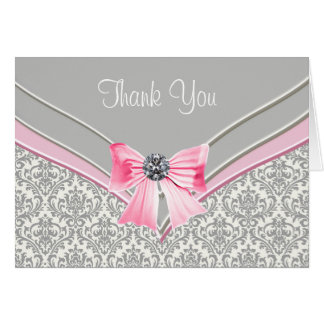 Het roze Grijze Damast dankt u Briefkaarten 0