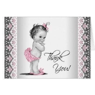 Het roze Grijze Vintage Baby shower dankt u Kaart