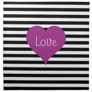 Het roze Hart van de Liefde op Zwart & Wit Katoenen Servet