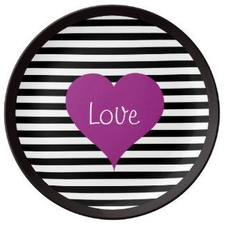 Het roze Hart van de Liefde op Zwart & Wit Porseleinen Bord