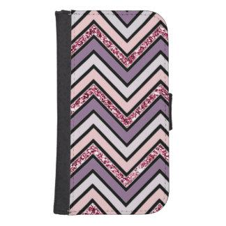 Het Roze & het Wit van de Lavendel van de chevron Galaxy S4 Portemonnee Hoesje