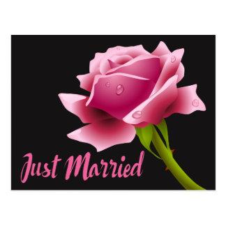 Het roze huwde enkel Bloemen toenam de Briefkaart