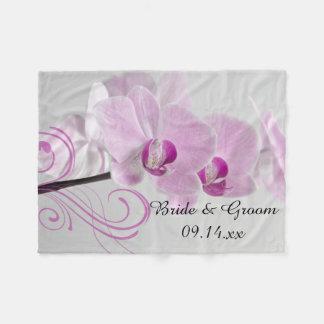 Het roze Huwelijk van de Elegantie van de Orchidee Fleece Deken