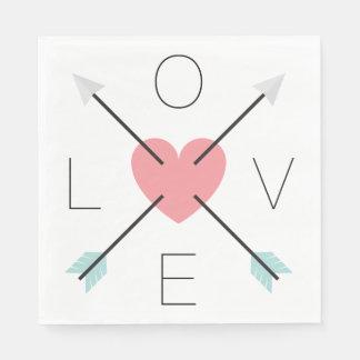 Het roze Huwelijk van de Pijlen van de Liefde van Wegwerp Servetten