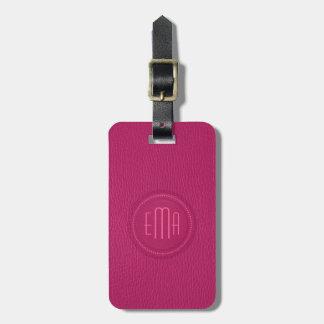 Het roze Leer Faux kijkt Monogram Kofferlabel
