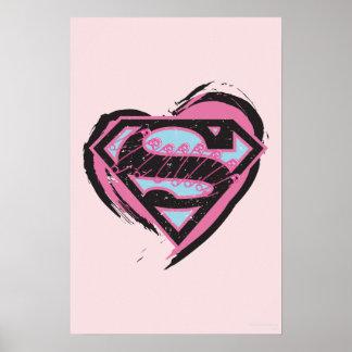 Het Roze Logo van Supergirl in Hart Poster