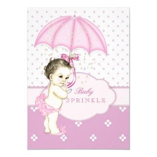 Het roze Meisje bestrooit Baby shower Kaart
