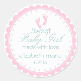 Het roze Meisje van het Baby van Voetafdrukken Ronde Sticker