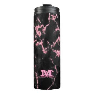 Het Roze met monogram schittert op Zwarte Thermosbeker