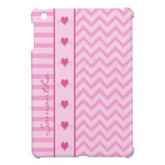 Het roze MiniHoesje van de Strepen en van de Harte iPad Mini Hoesje