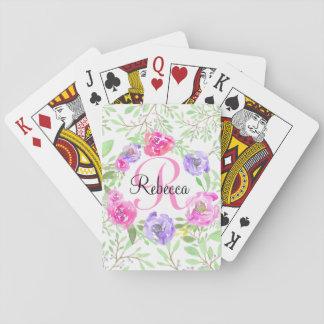 Het roze Monogram van de Waterverf van de Pioen Speelkaarten