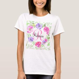 Het roze Monogram van de Waterverf van de Pioen T Shirt