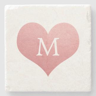 Het Roze Monogram van het Huwelijk van het Hart Stenen Onderzetter