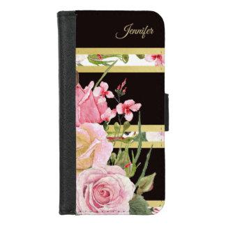 Het roze Monogram van het Patroon van de Streep iPhone 8/7 Portemonnee Hoesje
