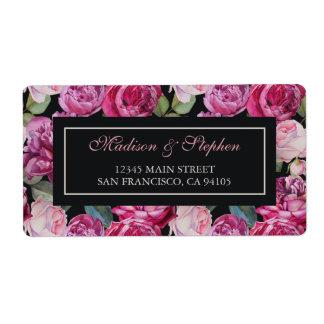 Het roze nam BloemenWaterverf - Huwelijk toe Etiket