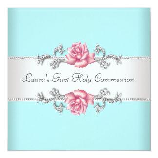 Het roze nam de Blauwgroen Eerste Heilige Communie 13,3x13,3 Vierkante Uitnodiging Kaart