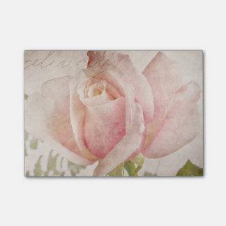 Het roze nam de Bloemen Rozen van de Achtergrond Post-it® Notes
