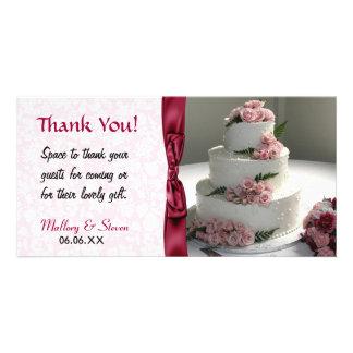 Het roze nam de Cake van het Huwelijk toe Kaart