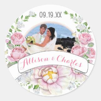 Het roze nam de Foto van het Huwelijk van de Kroon Ronde Stickers