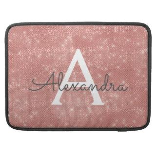 Het roze nam de Gouden Naam van het Monogram van MacBook Pro Sleeve