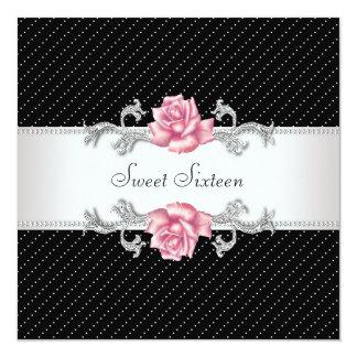 Het roze nam de Zwarte Partij van de Verjaardag 13,3x13,3 Vierkante Uitnodiging Kaart
